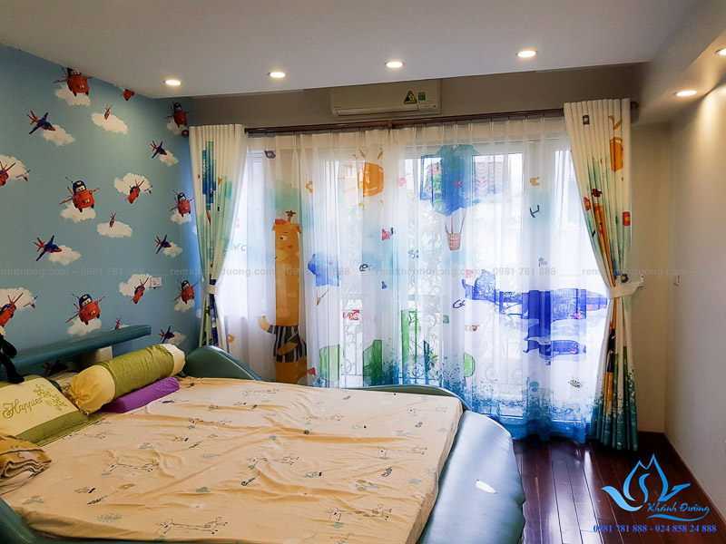 Rèm vải voan in tranh 3D cho phòng bé đẹp tại Âu Cơ