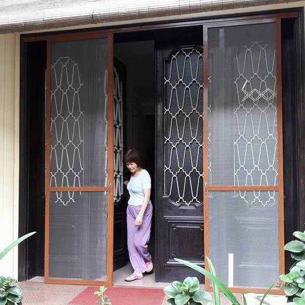 cửa lưới chống muỗi hệ lùa 2 cánh màu vân gỗ
