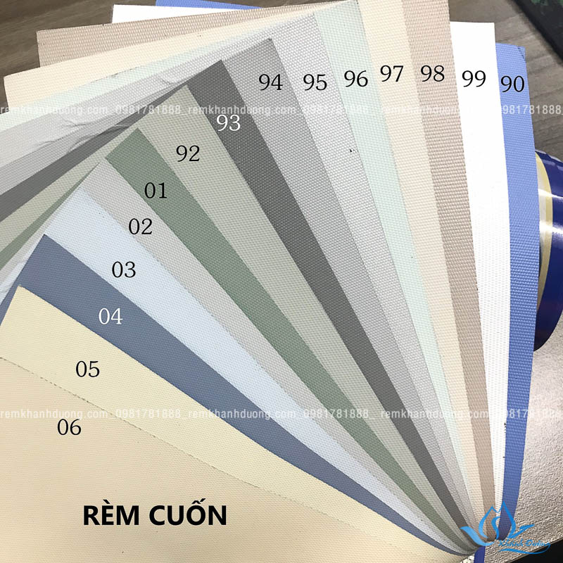 Bảng màu rèm cuốn trơn tại Khánh Đường
