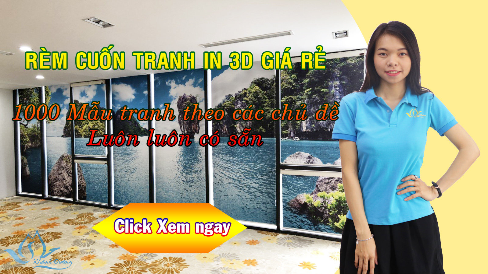 Rèm cuốn tranh in 3D siêu bền đẹp giá rẻ