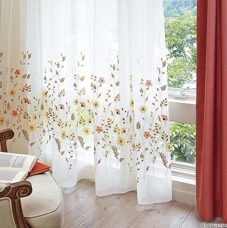 Rèm vải voan họa tiết nhí cao cấp Nhật Bản đẹp