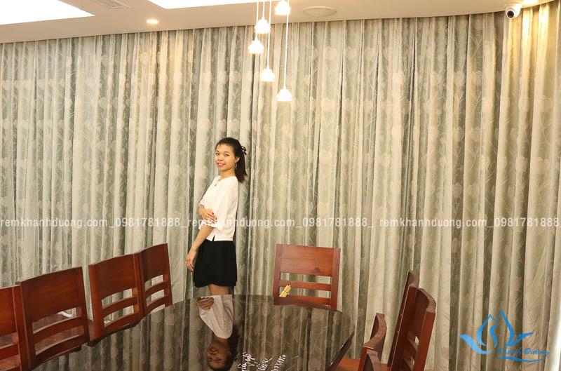 Rèm vải họa tiết 2 lớp cao cấp cho biệt thự sang trọng phố Hàm Nghi