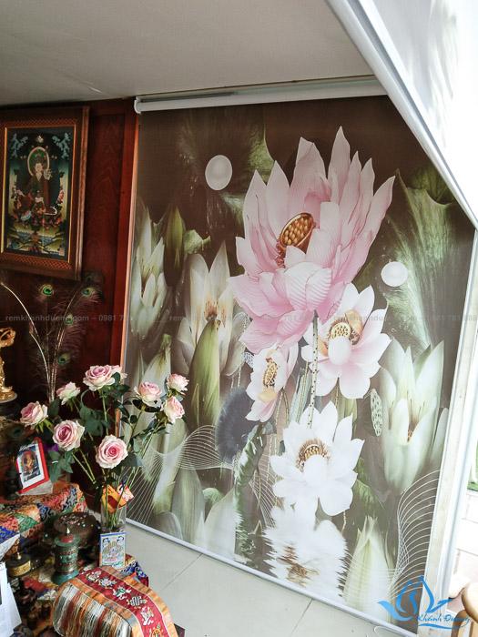 Bật mí hình ảnh hoa sen trên rèm in tranh RT36