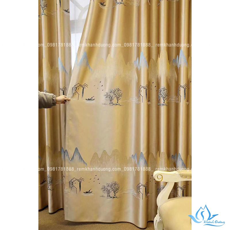 Hé lộ chất liệu của mẫu rèm vải hoa văn HH76