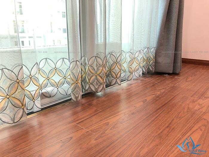 Màn vải hai lớp voan thêu tòa nhà Vinaconex mã HL 320