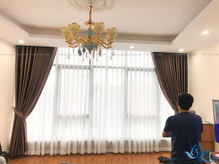 Rèm vải hai lớp một màu giá rẻ ở Mỹ Đình, Hà Nội