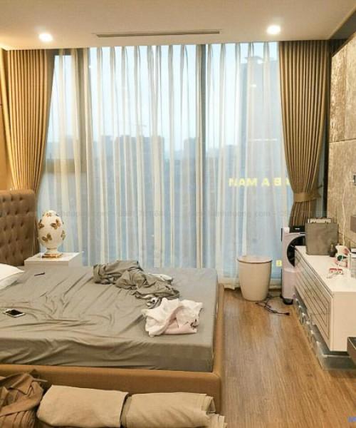 Lắp đặt rèm vải hai lớp phòng ngủ chung cư Vincom Liễu Giai TM-75-15