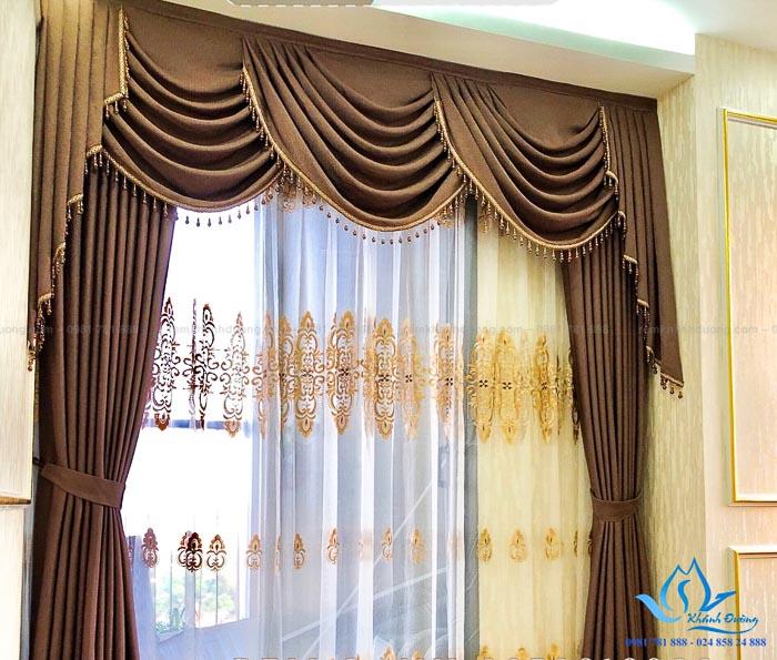 Lắp đặt rèm vải một màu tân cổ điển đẹp cho biệt thự tại Mỹ Đình CĐ-07