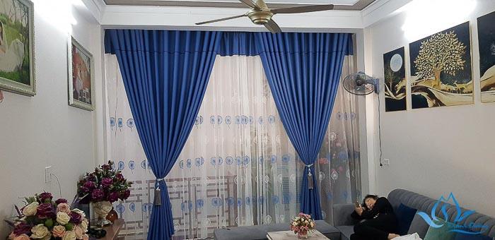 Rèm cửa sổ 2 lớp voan in hoa đẹp ở Hoài Đức mã TM 73