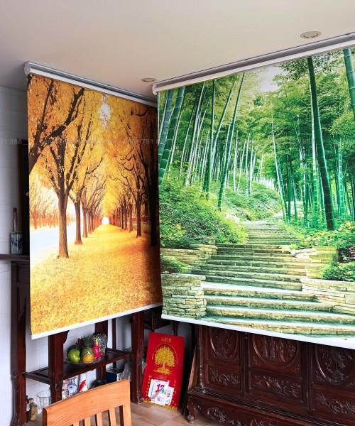 Rèm cuốn tranh che bàn thờ họa tiết phòng cảnh tại Trường Chinh