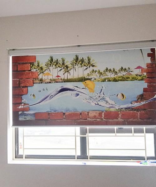 Rèm cuốn tranh in thường có máng cho bé yêu tại Đại Mỗ, Hà Nội RT38