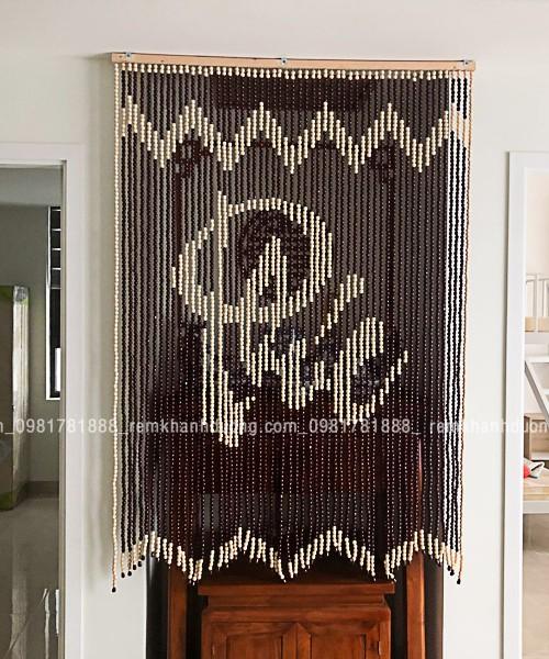 rèm hạt gỗ phòng thờ đẹp chữ Phúc tại chung cư Ngoại Giao Đoàn