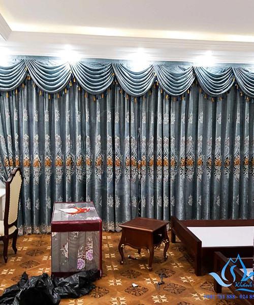 Rèm Nhung thêu cao cấp hoa văn tân cổ điển KĐT Văn Khê, Hà Đông CĐ-01