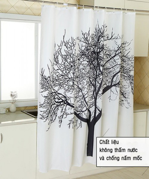 rèm phòng tắm che chắn nước thay cho vách kính tiết kiệm diện tích