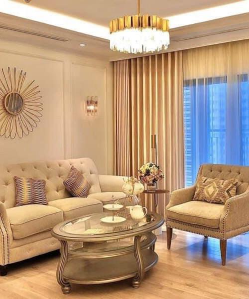 Rèm vải hai lớp đẹp cho phòng khách chung cư Ngụy Như Kom Tum