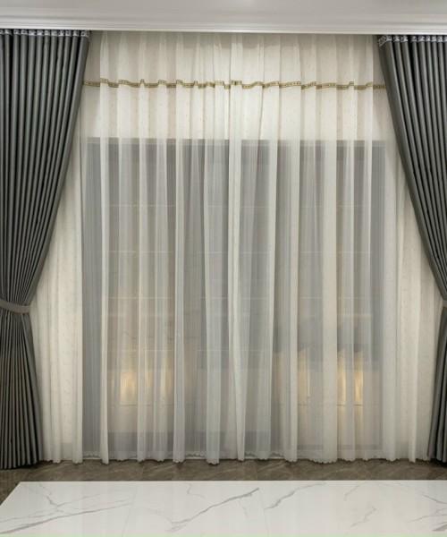 Rèm vải hai lớp đẹp sang trọng cho nhà chung cư phòng khách