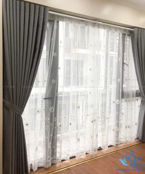 Rèm vải hai lớp phòng ngủ tại Vinhomes Green Bay, Nam Từ Liêm DIM72-07