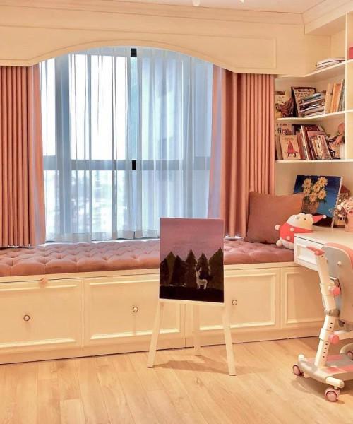 Rèm vải màu hồng cho phòng bé gái đẹp tại Tây Hồ