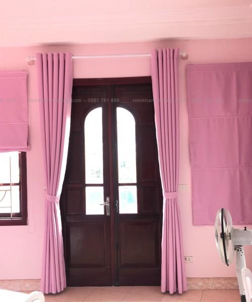 Rèm vải màu hồng cho phòng bé yêu mã MJL 5034