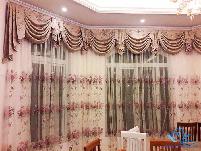 Rèm vải tân cổ điển yếm quả đẹp cho biệt thự tại KĐT Ciputra CĐ-05