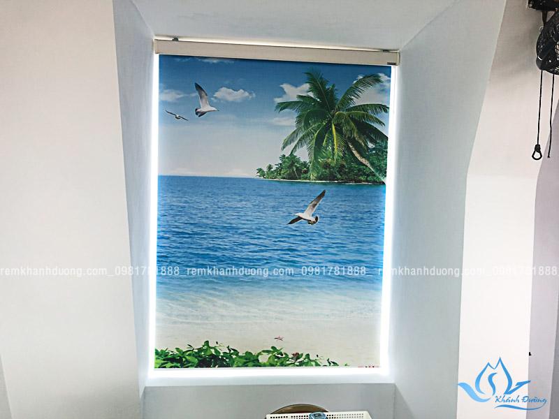Rèm cuốn tranh phong cảnh biển đẹp ở Đường Thành hệ máng cản sáng