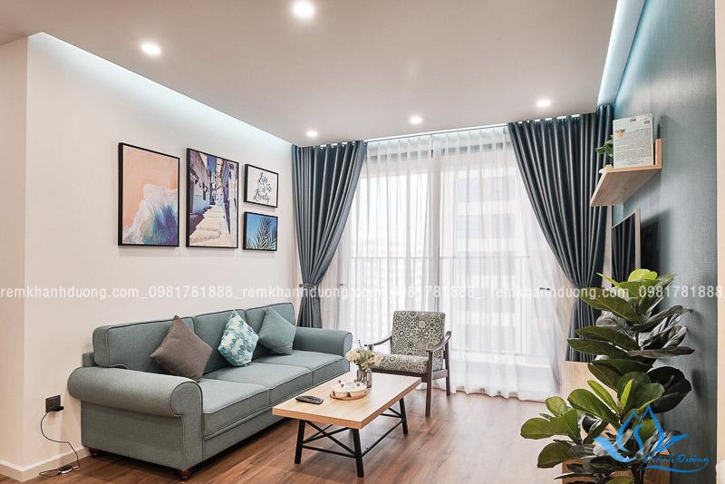Rèm vải hai lớp may ore dễ dàng điều chỉnh độ sáng trong phòng