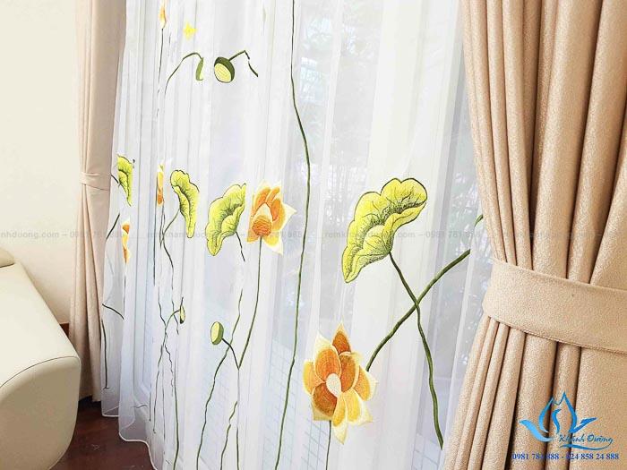 Rèm vải Hàn Quốc voan thêu tay cao cấp đẹp tại Âu Cơ, Tây Hồ DOICE07