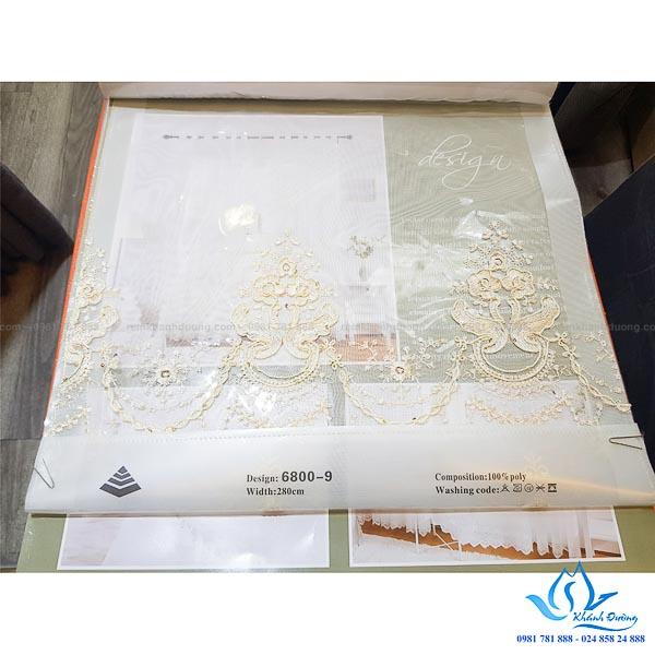Rèm vải một màu cao cấp Hàn Quốc thêu voan tại Vimeco Phạm Hùng TM689