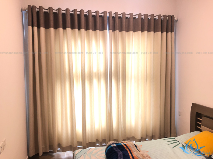 Rèm vải 1 lớp phối màu nâu đẹp cho phòng ngủ mới