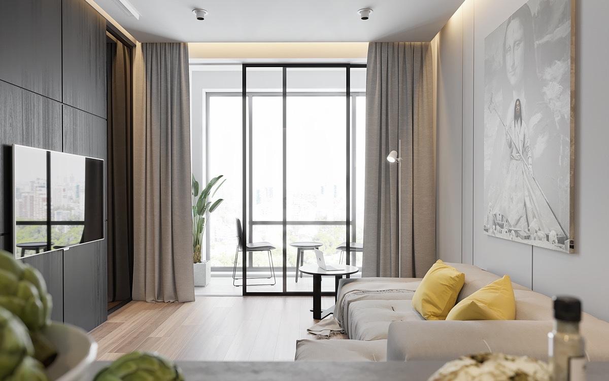 Chọn màu rèm phòng khách giống màu sofa