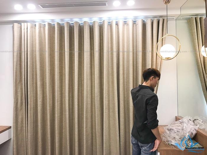 Rèm vải 1 lớp chất vải thô cao cấp tại chung cư Dcapital