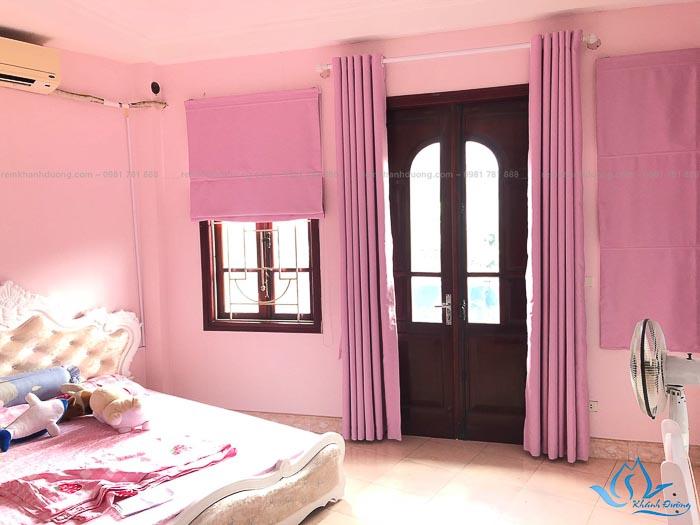 Rèm vải màu hồng đẹp cho phòng bé gái