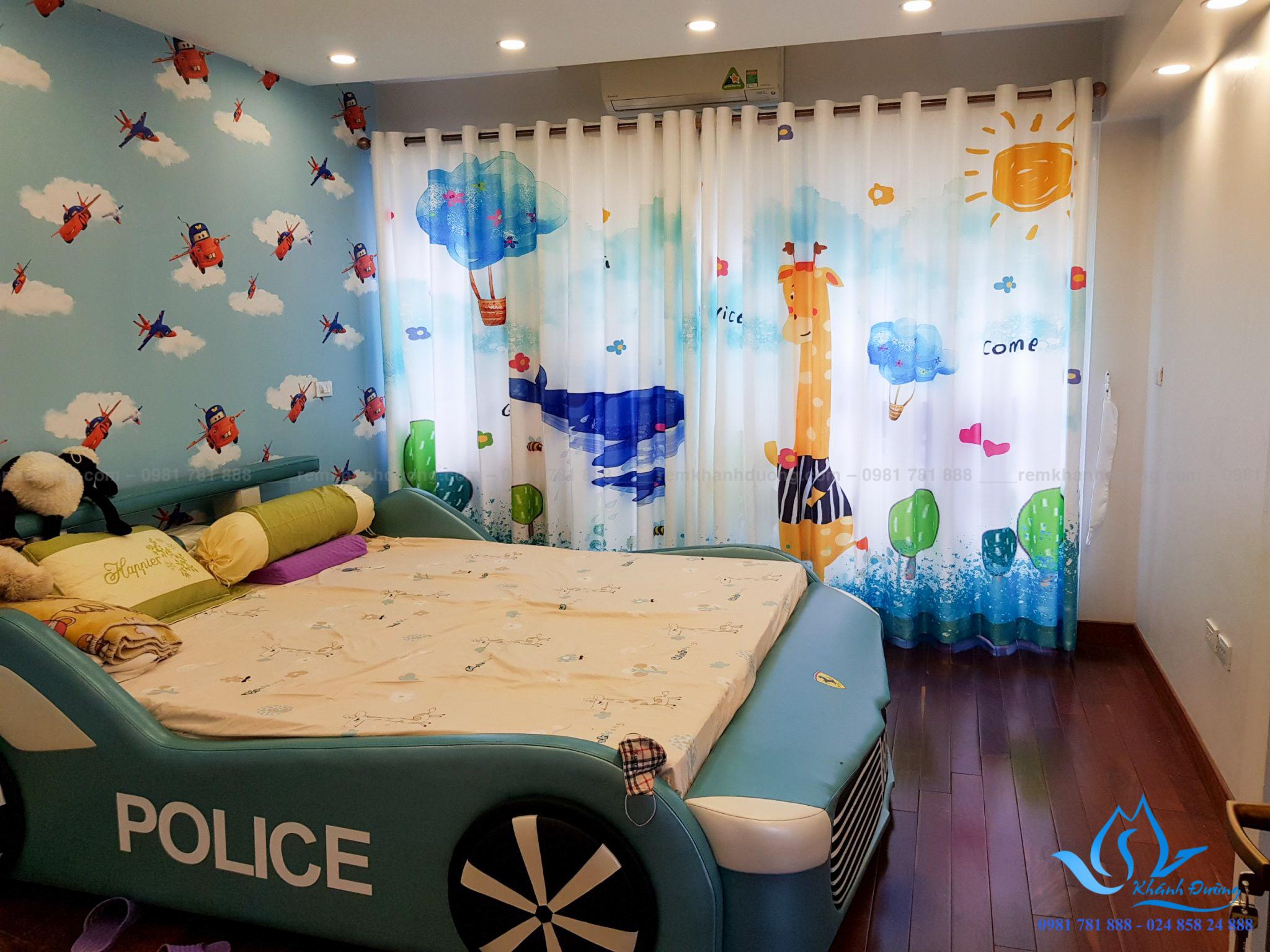 Rèm phòng bé trai in tranh độc đáo