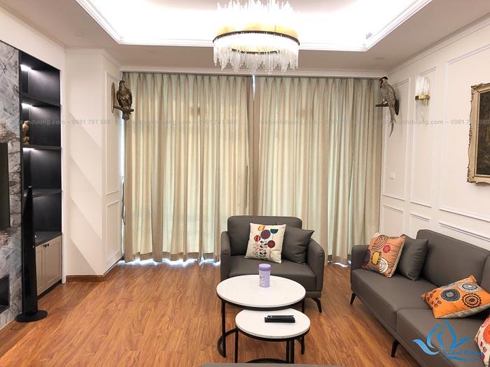Kiểu rèm vải 1 lớp cho phòng khách tại Ngụy Như Kon Tum