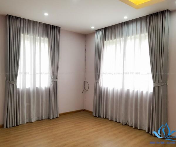 Lắp đặt rèm vải hai lớp cho biệt thự sang trọng Hà Đông, Hà Nội HL21