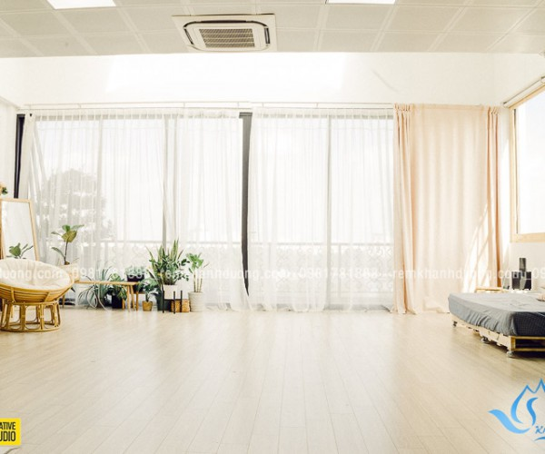 Lắp đặt rèm voan trắng đẹp giá rẻ cho studio Kim Mã, Hà Nội RV 02