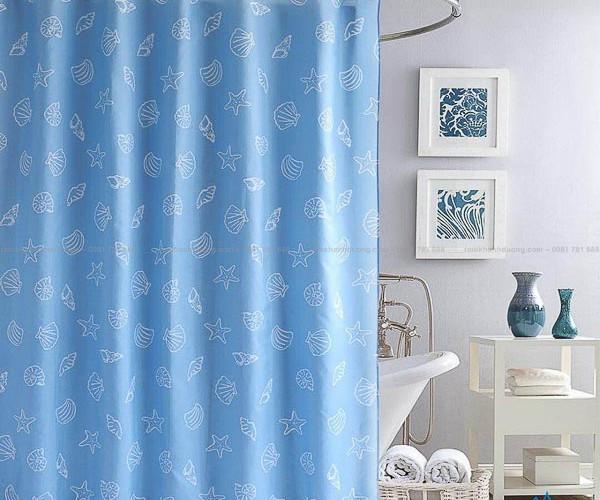 Màn cửa nhà tắm màu xanh in họa tiết đẹp mã PT-109
