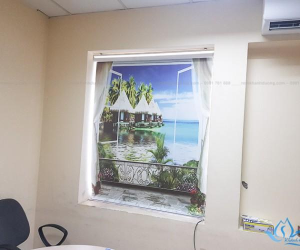 Mẫu rèm cuốn tranh 3D thường không máng giá rẻ Bà Triệu, Hà Nội RT41