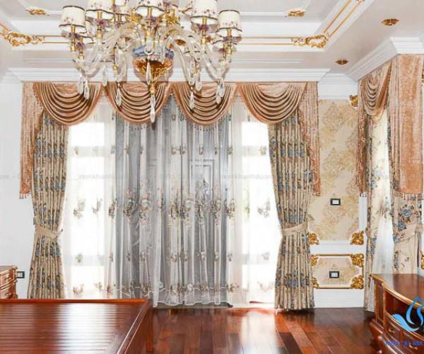 Mẫu rèm vải cổ điển cao cấp siêu biệt thự tại Long Biên, Hà Nội KD 03