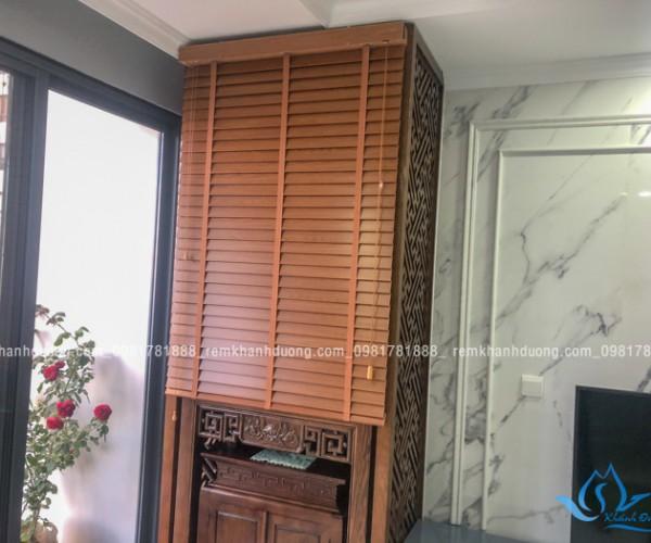 Rèm bàn thờ gỗ sồi giá rẻ đẹp tại chung cư Ngoại Giao Đoàn
