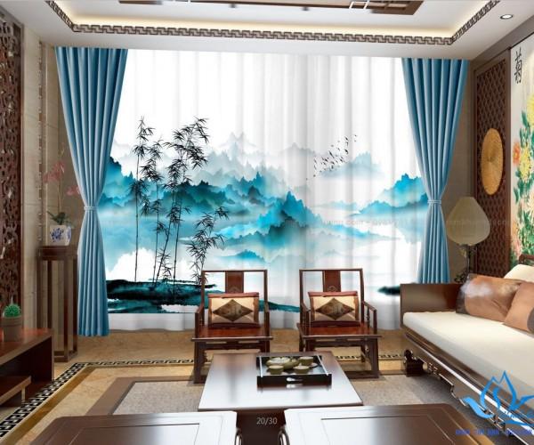 Rèm cửa vải đẹp in tranh sang trọng cho phòng khách tại Cầu Giấy RT19