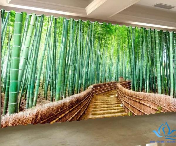 Rèm cửa vải đẹp in tranh thiên nhiên tinh tế tại Hàng Bún, Hà Nội RT24