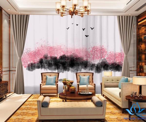 Rèm cửa vải in tranh 3D hình tranh phong cảnh tại Thái Hà, Hà Nội RT22