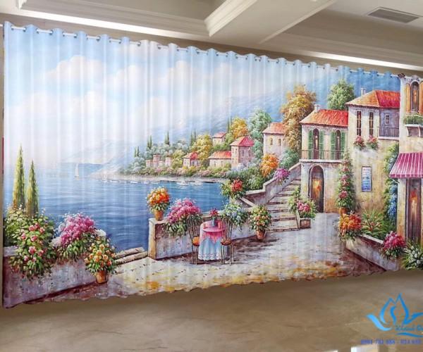 Rèm cửa vải in tranh 3D phòng ngủ bé gái tại Nguyễn Xí, Hà Nội RT17