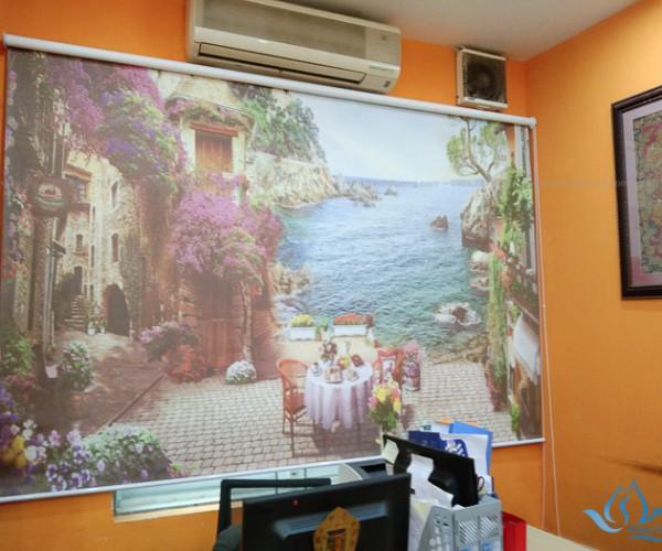 Rèm cuốn tranh in thường cho văn phòng tại Long Biên, Hà Nội RT35