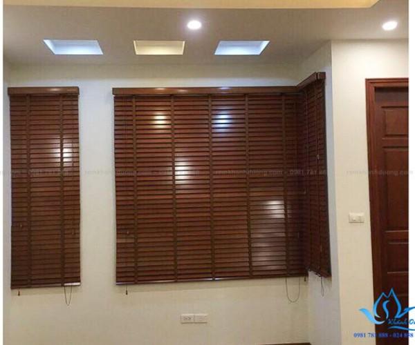 Rèm gỗ Basswood Goldsun Vina GS 006 ô cửa sổ chung cư Hoàn Kiếm