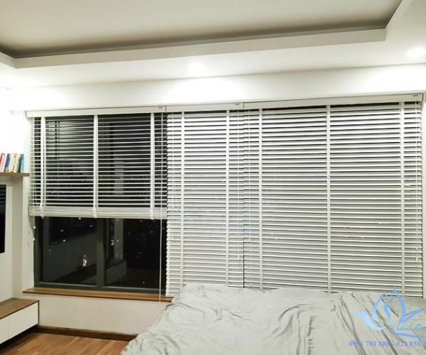 Rèm sáo gỗ màu trắng MSJ 301 cho phòng ngủ căn hộ Ciputra Hà Nội