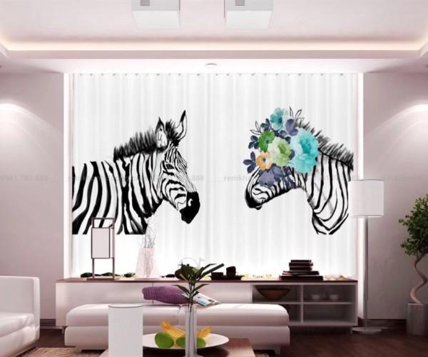 Rèm in tranh 3D hình ngựa vằn cho bé trai tại Khâm Thiên, Hà Nội RT18