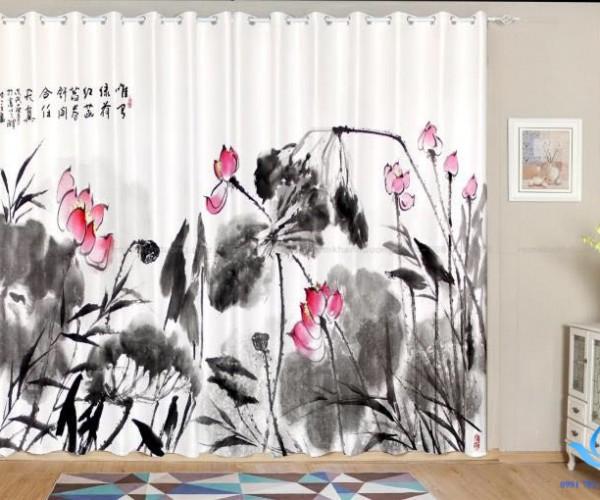 Rèm in tranh 3D tranh vẽ thiên nhiên cổ điển tại Trần Phú, Hà Nội RT23