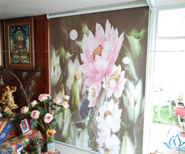 Rèm tranh in thường không máng hình ảnh hoa lá tại Quận Long Biên RT36